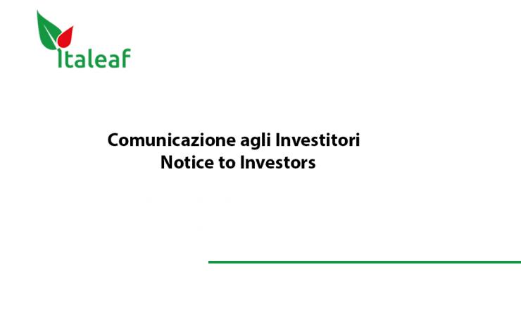 Italeaf Investros Notice
