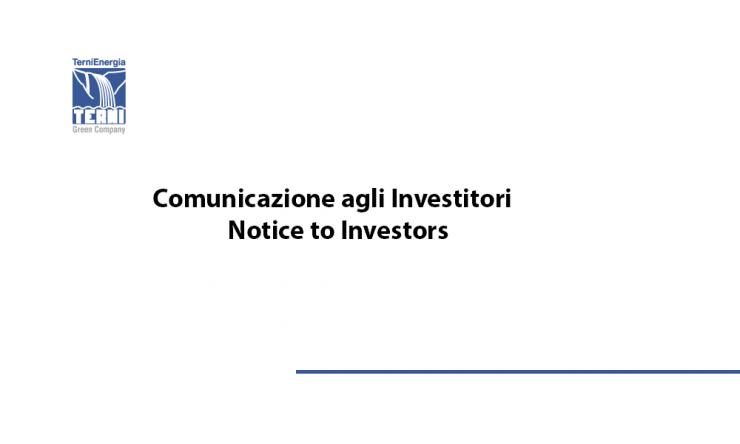 TerniEnergia Investors Notice